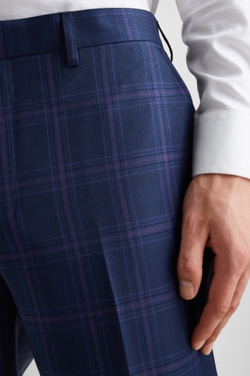 Ted Baker Tailored Fit Blue with Purple Check Trousers