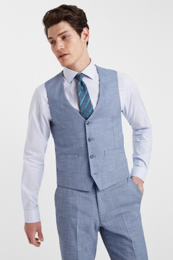 French Connection Slim Fit Light Blue Waistcoat