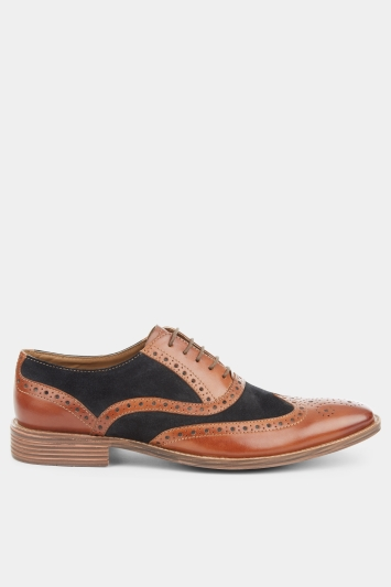 Moss London Benson Brown & Navy Contrast Oxford Shoe