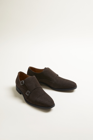 John White Fenton Performance Brown Suede Double-Buckle Monk Shoe