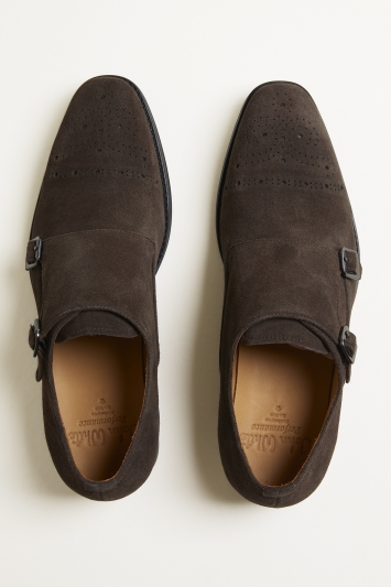 John White Fenton Performance Brown Suede Double-Buckle Monk Shoe
