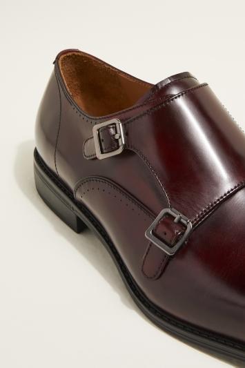 John White Fenton Performance Burgundy Double-Buckle Monk Shoe