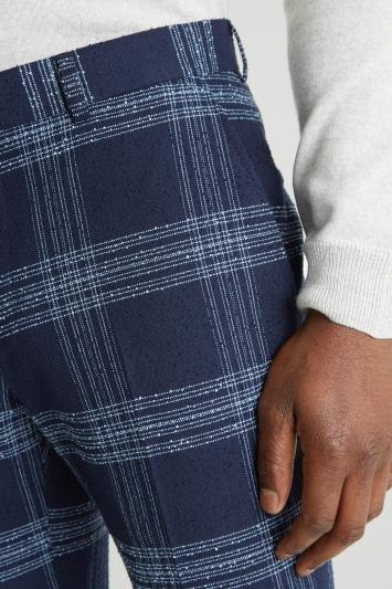 Moss London Slim Fit Blue Boucle Trousers