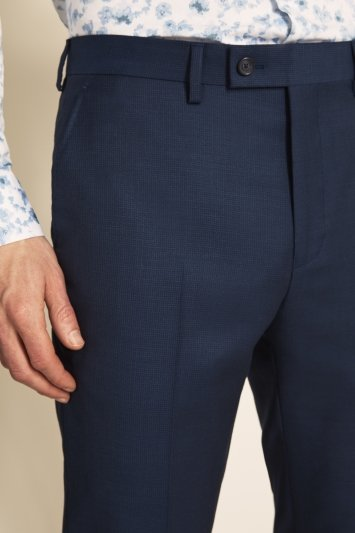 Tailored Fit Navy Semi Plain Trousers
