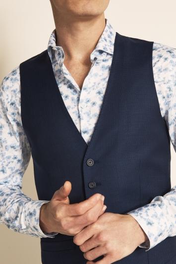 Tailored Fit Navy Semi Plain Waistcoat
