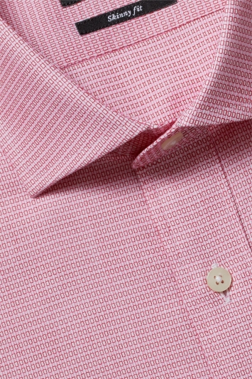 Moss London Premium Skinny Fit Pink Single Cuff Textured Shirt
