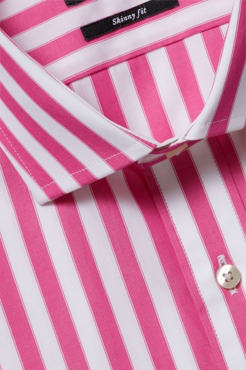 Moss London Premium Skinny Fit Pink Single Cuff Wide Stripe Shirt