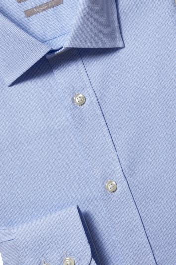 Savoy Taylors Guild Regular Fit Sky Single Cuff Texture Shirt