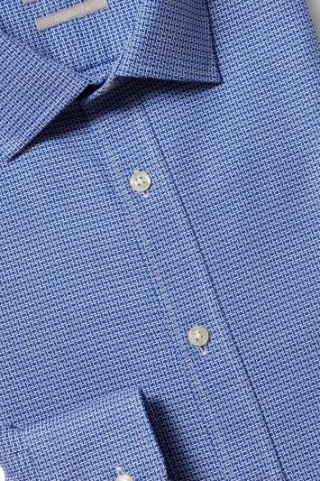 Savoy Taylors Guild Regular Fit Navy Single Cuff Textured Shirt