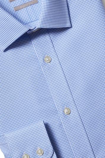 Savoy Taylors Guild Regular Fit Sky Single Cuff Spot Shirt