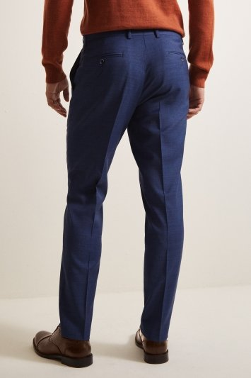 Tailored Fit Blue Sharkskin Trousers