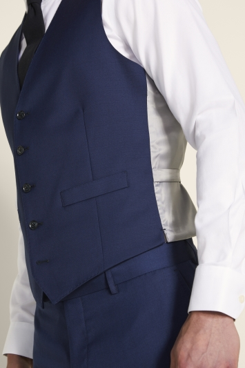 Moss 1851 Tailored Fit Navy Twill Waistcoat
