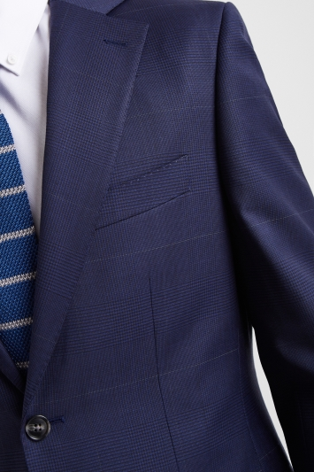 Moss 1851 Tailored Fit Subtle Blue Check Jacket