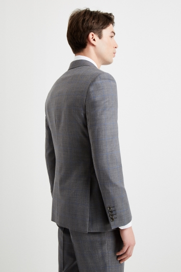 Moss 1851 Tailored Fit Grey with Blue Windowpane Jacket