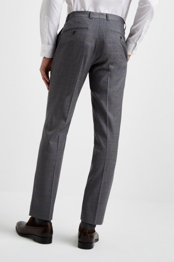 Moss 1851 Tailored Fit Grey with Blue Windowpane Trousers