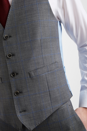 Moss 1851 Tailored Fit Grey with Blue Windowpane Waistcoat