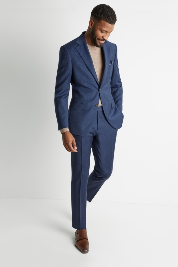 Moss 1851 Tailored Fit Blue Houndstooth Jacket