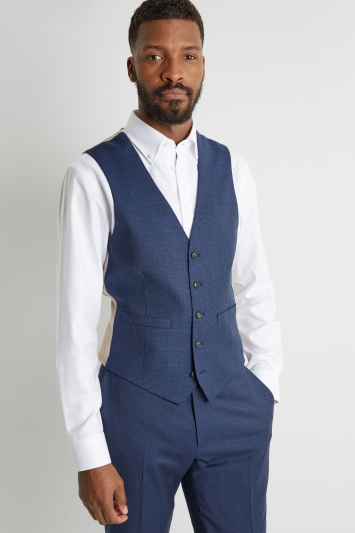 Moss 1851 Tailored Fit Blue Houndstooth Waistcoat