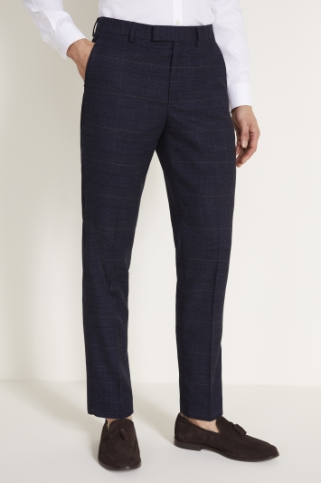 Moss 1851 Tailored Fit Navy Black Check Trouser