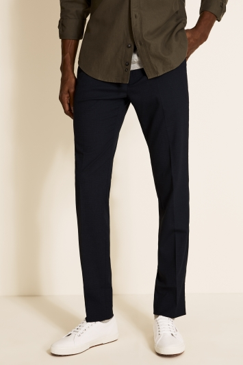 Moss London Slim Fit Navy Broken Check Cropped Trousers