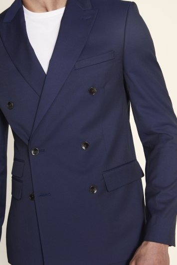 Moss London Skinny/Slim Fit Ink Stretch Double Breasted Jacket