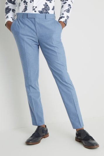 Moss London Slim Fit Chambray Trousers