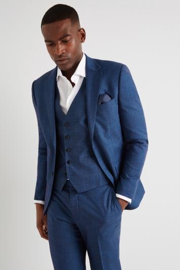 Moss London Slim Fit Teal Slub Jacket