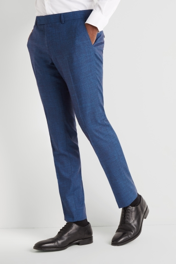 Moss London Slim Fit Teal Slub Trousers