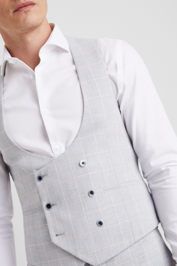Moss London Slim Fit Grey Clementine Windowpane Double Breasted Waistcoat