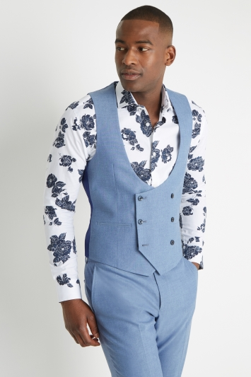 Moss London Slim Fit Chambray Double Breasted Waistcoat