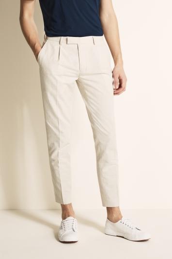 Moss London Slim Fit Stone Linen Blend Single Pleat Cropped Trouser