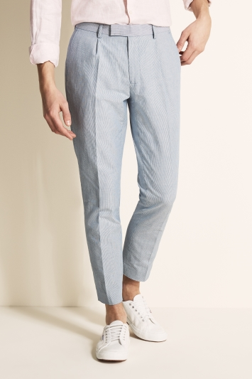 Moss London Slim Fit Blue & White Stripe Linen Blend Single Pleat Cropped Trouser