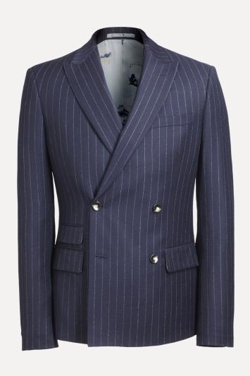 Moss London Slim Fit Blue Stripe Double Breasted Jacket