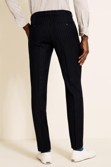 Moss London Slim Fit Blue Stripe Trousers