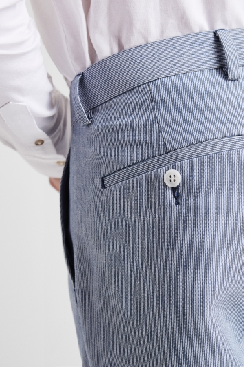 Moss London Blue Stripe Linen Look Shorts