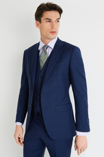 Savoy Taylors Guild Regular Fit Blue Check Jacket