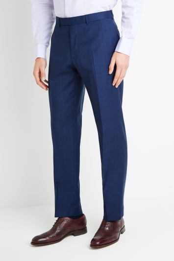 Savoy Taylors Guild Regular Fit Blue Check Trousers