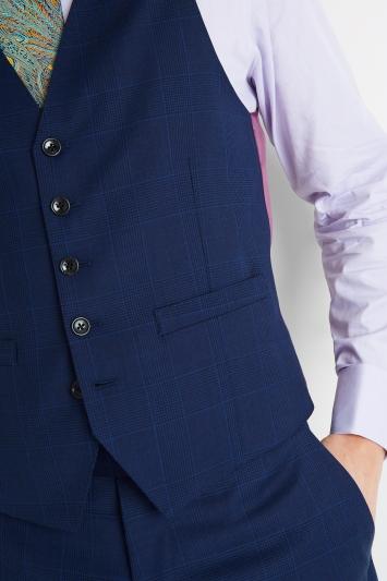 Savoy Taylors Guild Regular Fit Blue Check Waistcoat