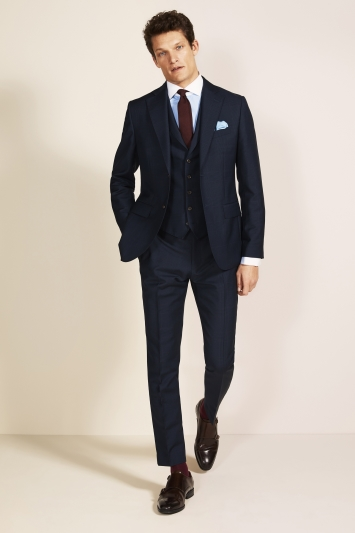 Barberis Tailored Fit Navy Check Jacket