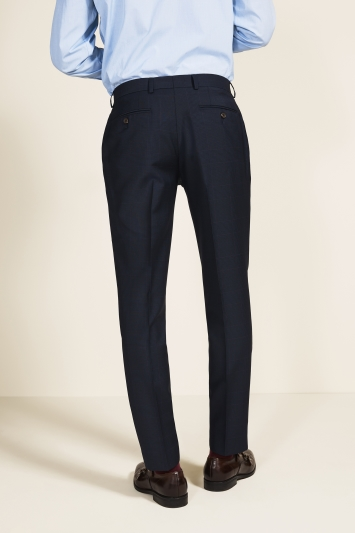 Barberis Tailored Fit Navy Check Trousers