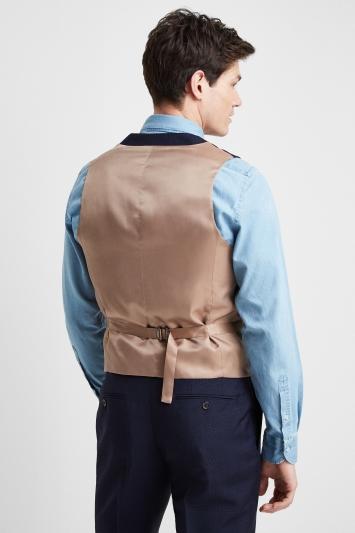 Barberis Tailored Fit Navy Check Waistcoat