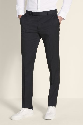 Moss London Slim Fit Charcoal Stretch Trousers