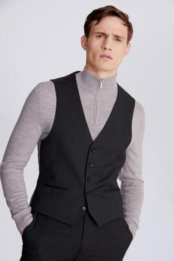 Moss London Slim Fit Charcoal Stretch Waistcoat