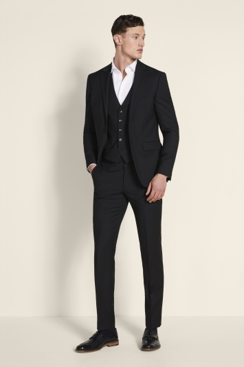 Moss London Slim Fit Black Stretch Jacket