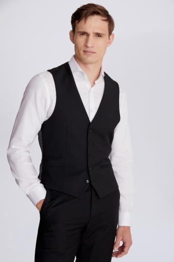 Moss London Slim Fit Black Stretch Waistcoat