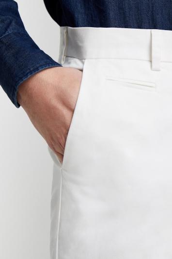 Moss London Slim Fit White Stretch Chino
