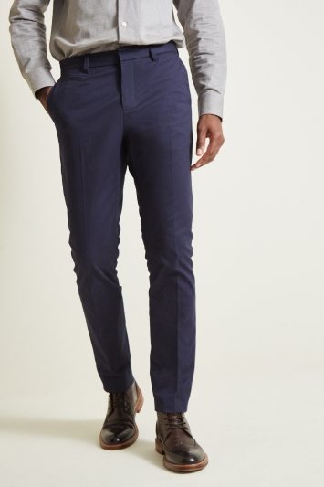 Moss London Slim Fit Navy Stretch Chino