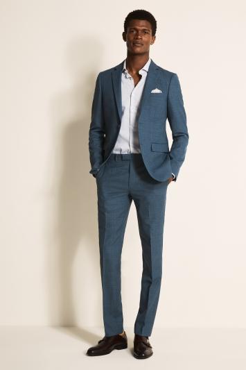 Slim Fit Summer Blue Texture Jacket