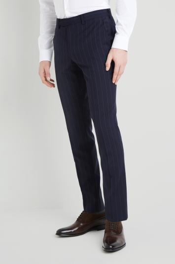 DKNY Slim Fit Navy Stripe Trousers