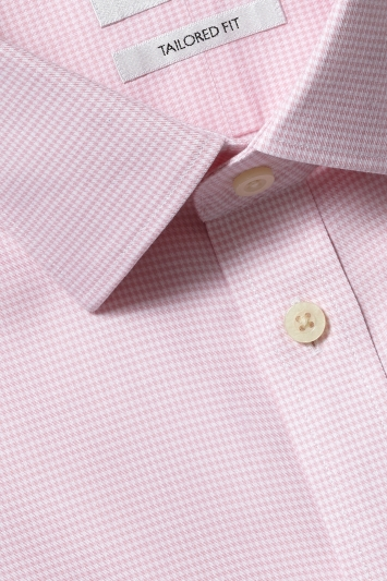 Moss 1851 Tailored Fit Pink Double Cuff Dogtooth Zero Iron Shirt